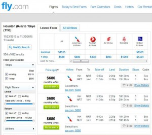 Houston-Tokyo: Fly.com Search Results