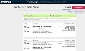 Indianapolis-Atlanta: Orbitz Booking Page