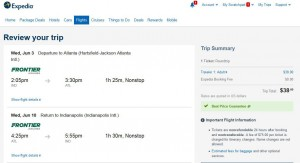 Indianapolis-Atlanta: Expedia Booking Page