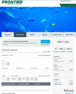 Indianapolis-Atlanta: Frontier Booking Page