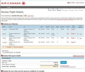 Indianapolis-Beijing: Air Canada Booking Page