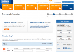 Ft Lauderdale to Cartagena: JetBlue Booking Page