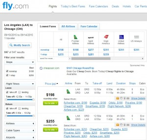 Los Angeles to Chicago: Fly.com Results