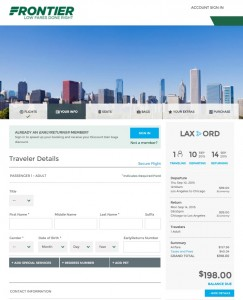 Los Angeles to Chicago: Frontier Booking Page