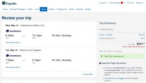 Los Angeles to Mexico City: Expedia Booking Page