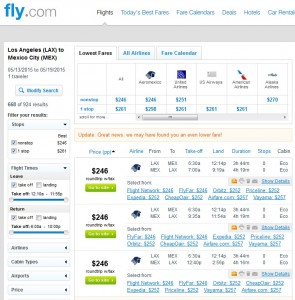 Los Angeles to Mexico City: Fly.com Results