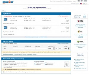 Los Angeles to Panama City: CheapOair Booking Page