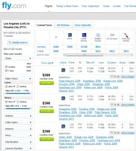 Los Angeles to Panama City: Fly.com Results