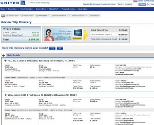 Milwaukee-Fort Myers: United Booking Page