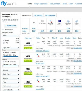 Milwaukee-Tampa: Fly.com Search Results