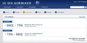 Milwaukee-Tampa: US Airways Booking Page