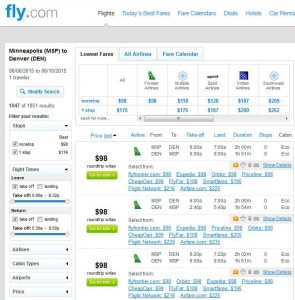Minneapolis-Denver: Fly.com Search Results