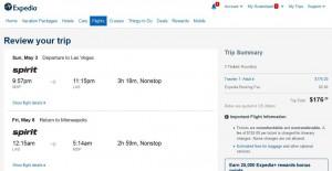 Minneapolis-Las Vegas: Expedia Booking Page