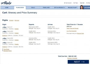 Minneapolis-Honolulu: Alaska Airlines Booking Page
