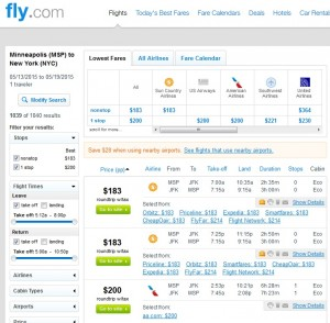 Minneapolis to New York City: Fly.com Results