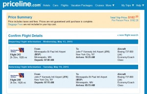Minneapolis to New York City: Priceline Booking Page