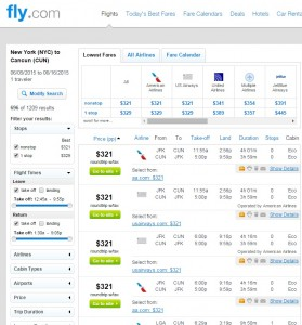 New York City to Cancun: Fly.com Results