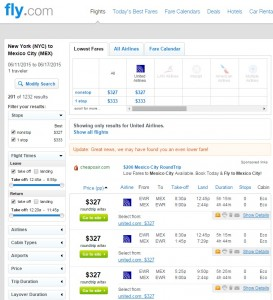 New York City to Mexico City: Fly.com Results