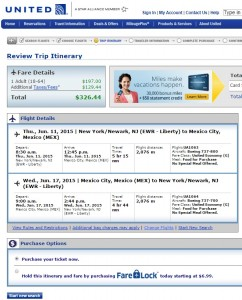 New York City to Mexico City: United Booking Page