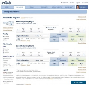 Oakland to Maui: Alaska Booking Page