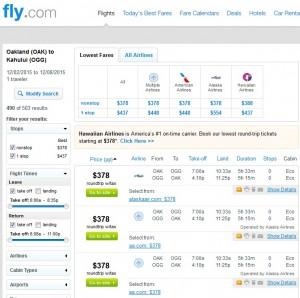 Oakland to Maui: Fly.com Results