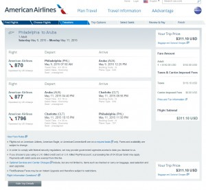 Philadelphia to Aruba: AA Booking Page