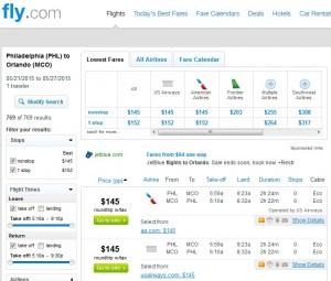 Philadelphia to Orlando: Fly.com Results