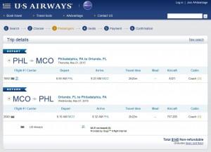 Philadelphia to Orlando: US Air Booking Page