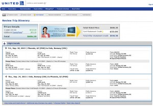 Phoenix to Oslo: United Booking Page