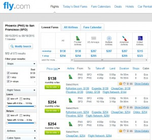 Phoenix to San Francisco: Fly.com Results