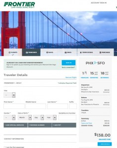 Phoenix to San Francisco: Frontier Booking Page
