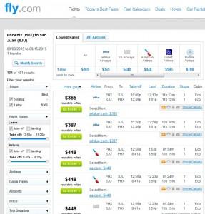 Phoenix to San Juan, Puerto Rico: Fly.com Results