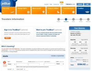 Phoenix to San Juan, Puerto Rico: JetBlue Booking Page