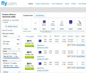 Phoenix to Stockholm: Fly.com Results