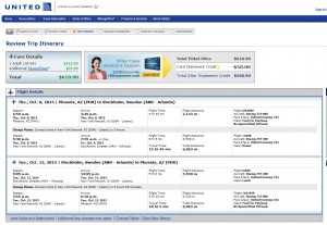Phoenix to Stockholm: United Booking Page