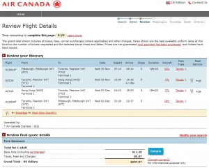 Pittsburgh-Hong Kong: Air Canada Booking Page