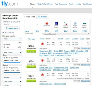 Pittsburgh-Hong Kong: Fly.com Search Results