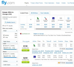 Raleigh to Chicago: Fly.com Results