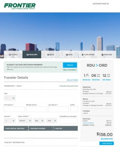 Raleigh to Chicago: Frontier Booking Page