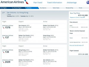 San Antonio-Hong Kong: American Booking Page