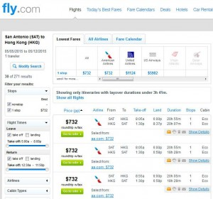 San Antonio-Hong Kong: Fly.com Search Results