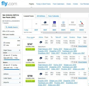 San Antonio-Sao Paulo: Fly.com Search Results