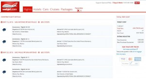 San Antonio-Sao Paulo: Webjet Booking Page