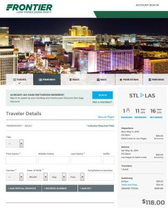 St. Louis-Las Vegas: Frontier Booking Page