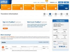 Salt Lake City to Orlando: JetBlue Booking Page