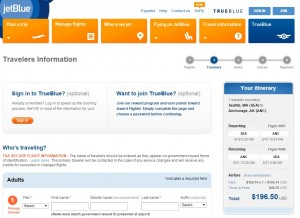 Seattle to Alaska: JetBlue Booking Page