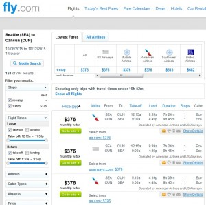 Seattle to Cancun: Fly.com Results