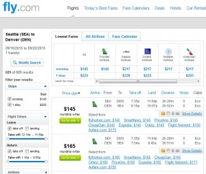 Seattle to Denver: Fly.com Results