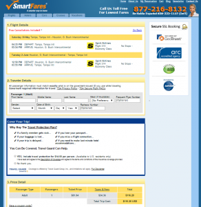Tampa to Houston: SmartFares Booking Page