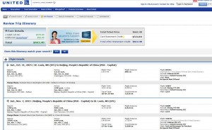 St. Louis-Beijing: United Booking Page